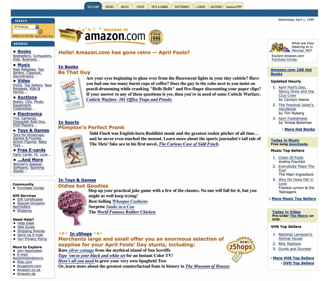 The best and worst april fools day pranks in the tech world amazon is taking us back to 1999 hexwebz Images