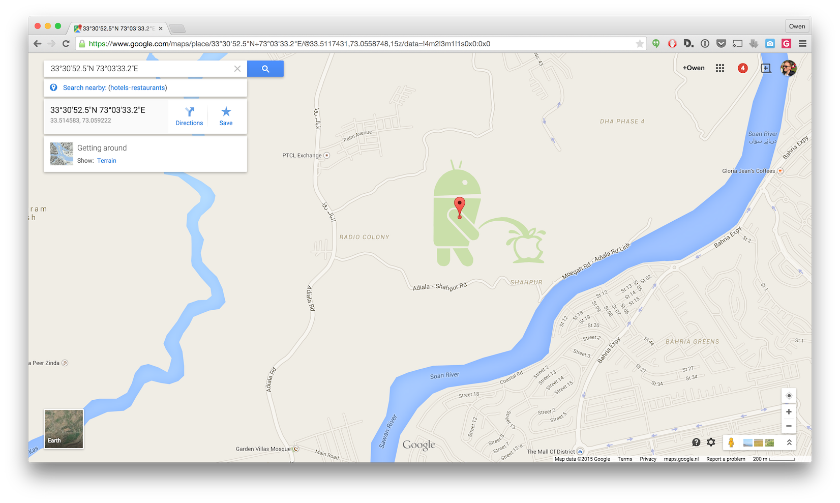 Theres an android peeing on apple on google maps screen shot 2015 04 24 at 13718 pm gumiabroncs Choice Image