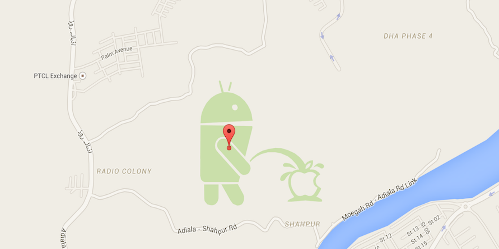 There's An Android Peeing On Apple On Google Maps