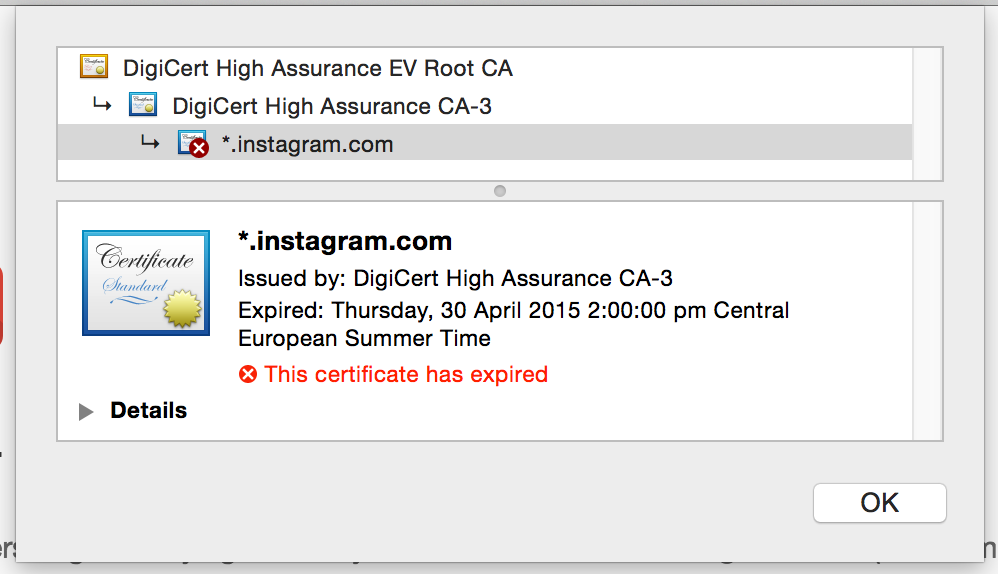 Oops Instagram Forgot To Renew Its Ssl Certificate