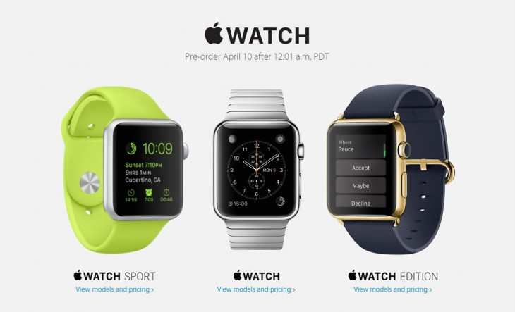 Apple Watch pre-orders start at 12:01 a.m. PDT on April 10