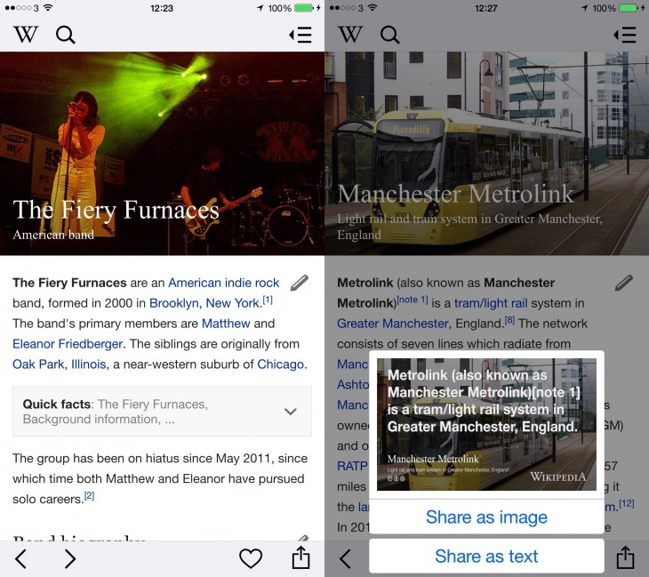 wikipedia for ios gets a snazzy refresh to match android