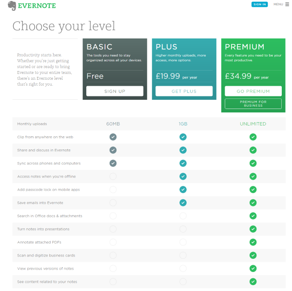 Premium Pricing: Evernote Tweaks Pricing To Introduce More Affordable Tiers