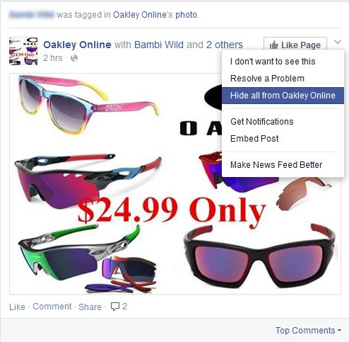 facebook sunglasses spam