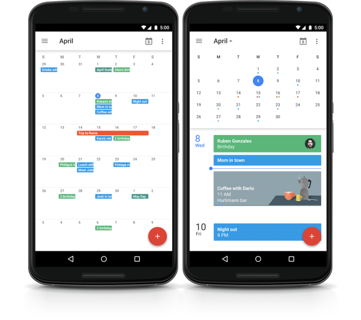 google calendar android month