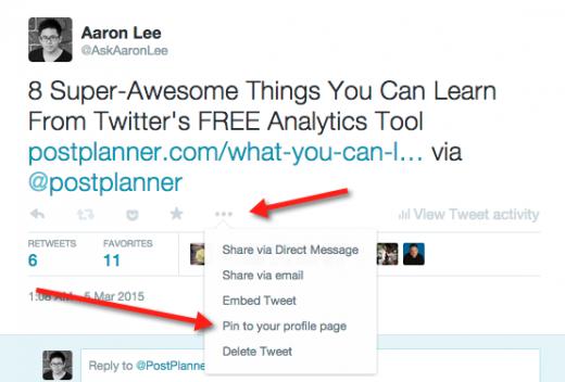 how to pin tweet