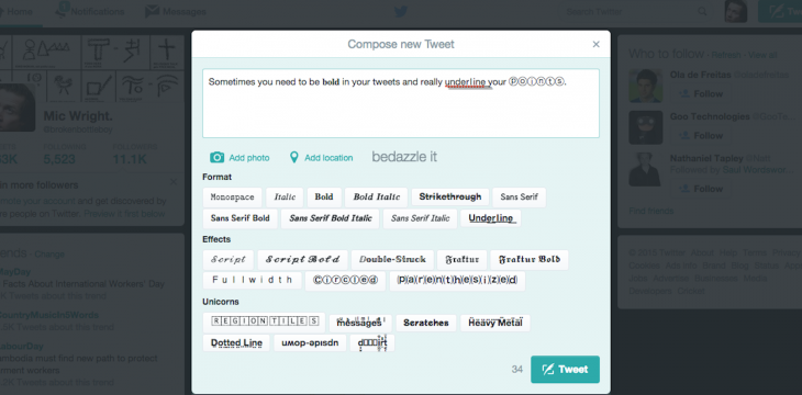 This Chrome extension lets you add fancy formatting to your tweets