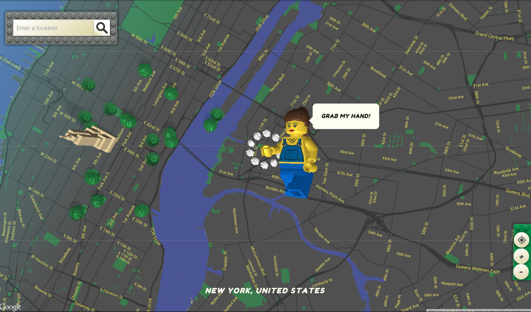 Explore all of Google Maps in Lego form with this Web app