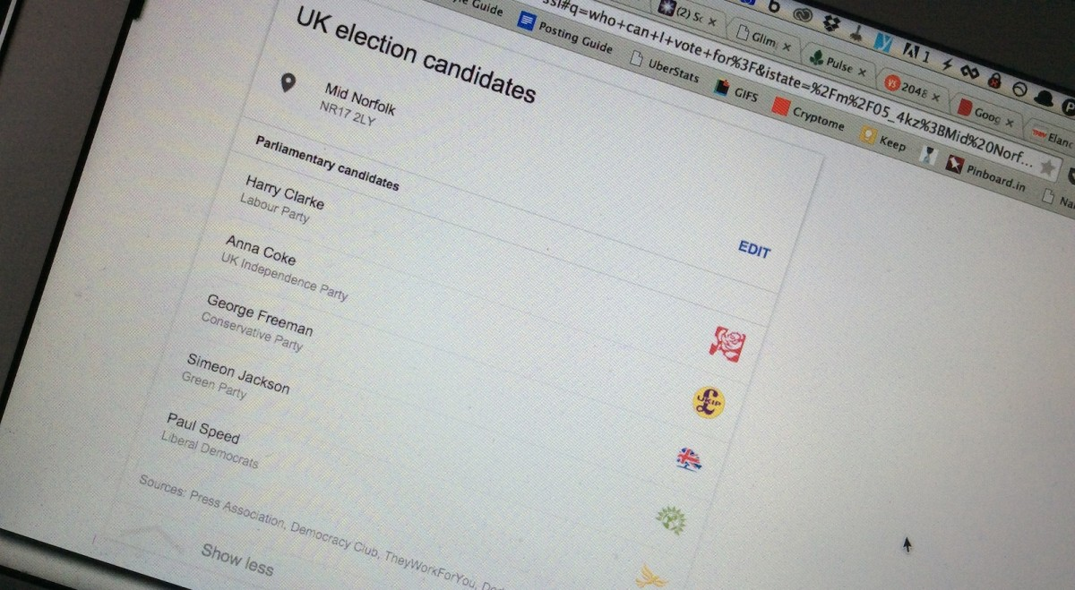 Who can you vote for in the UK general election? Google will tell you