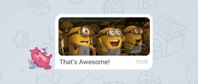 Telegram with Aniways suggests GIFs and Smart Emoticons as you type
