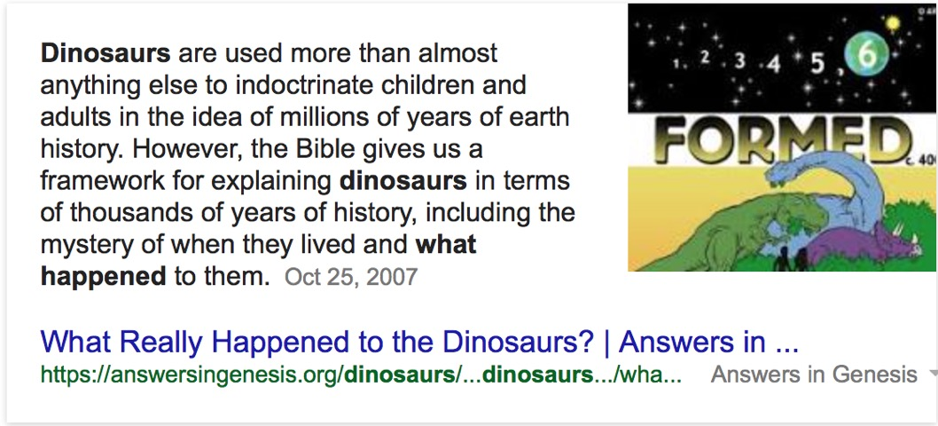 Why is Google giving a creationist answer to a question about dinosaurs? [Updated]
