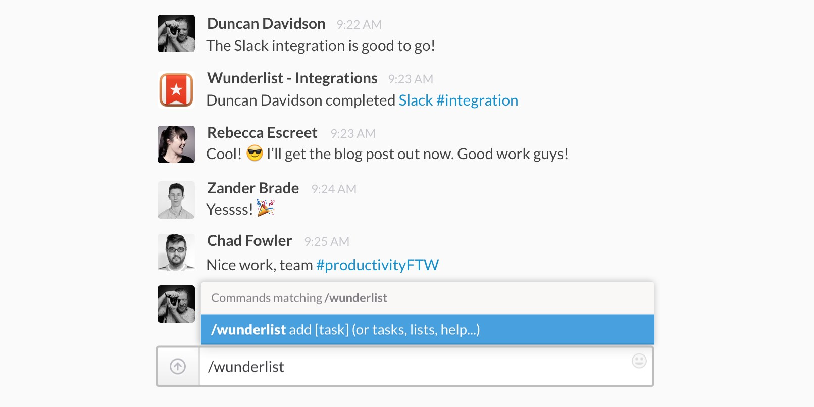 Wunderlist integrates with Slack so you can create to-dos