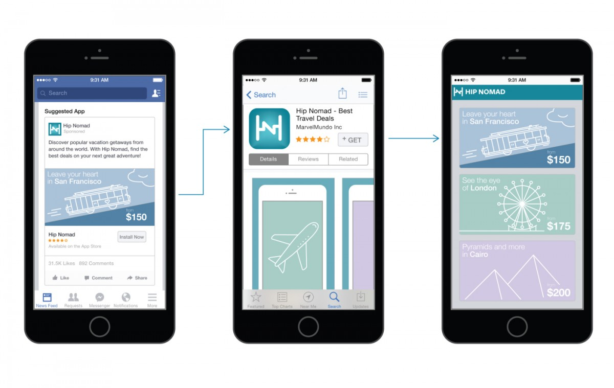 Facebook's in-app downloads can now show an ad landing page immediately after install