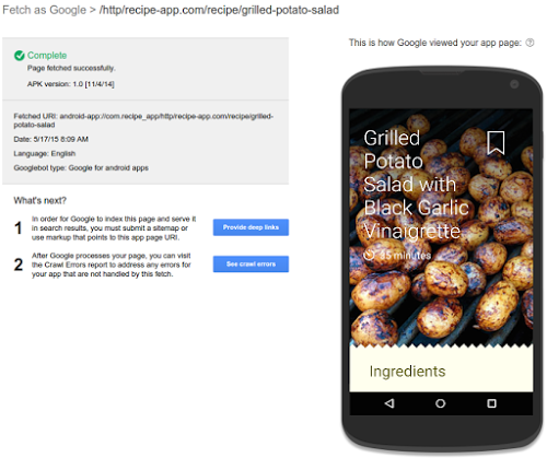 fetch as google for apps