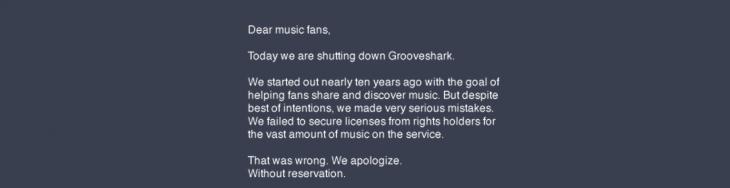 grooveshark shutdown