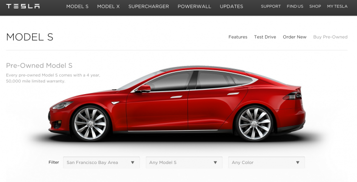 Now you can buy a pre-owned Tesla Model S from the company's new online marketplace