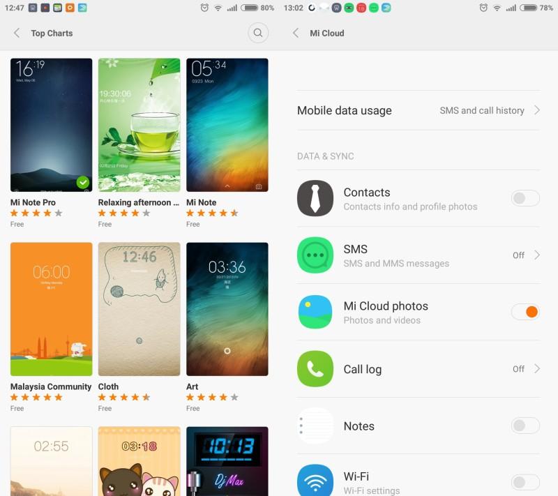 Mi 4i Themes and MiCloud settings