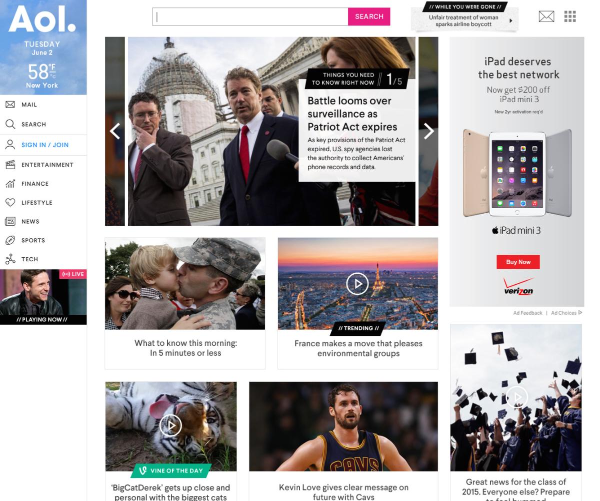 AOL homepage 1