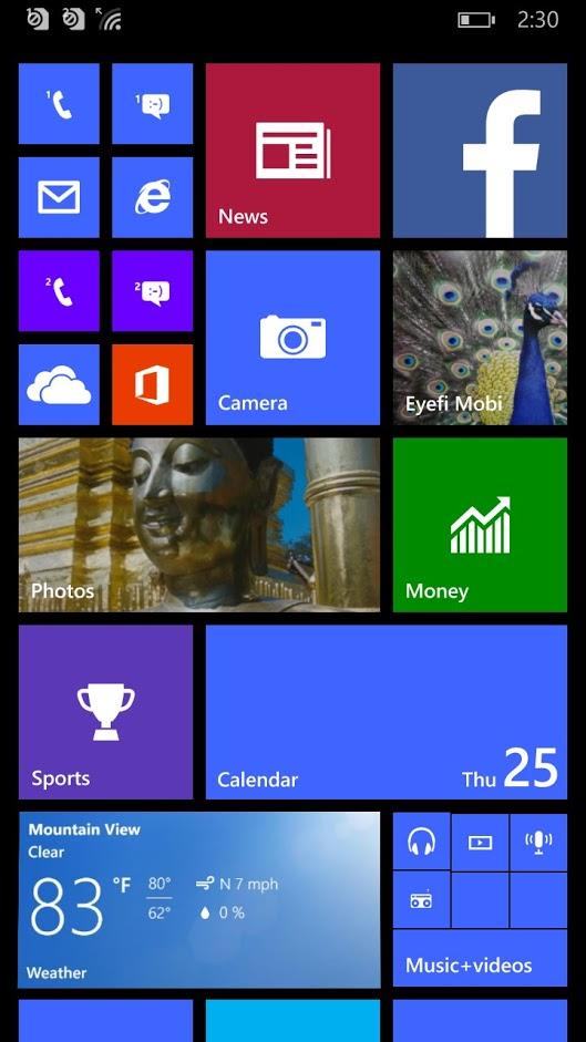 Eyefi Mobi Windows phone_home screen