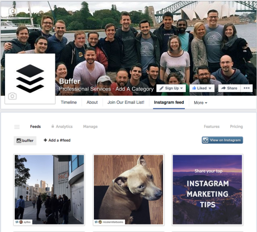 Facebook-page-with-Instagram-feed