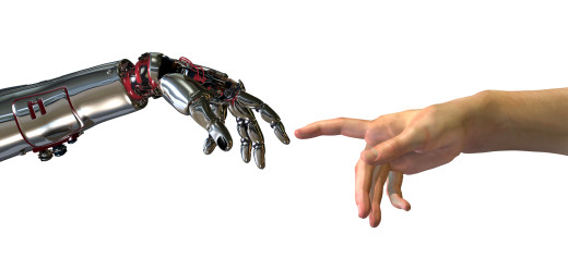 """Robot and human hands almost touching - 3D render. A modern take on the famous Michelangelo painting in the Sistine Chapel; titled, """"The Creation of Adam""""."""