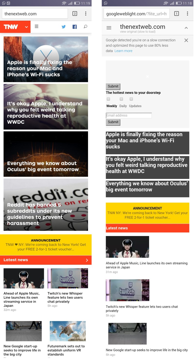 TNW's unoptimized site (L) and the Google optimized version (R) (click for larger image)