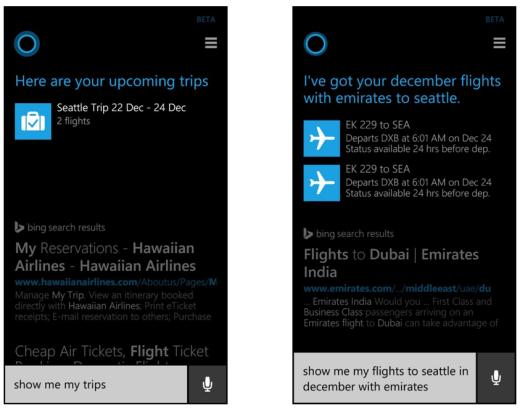 Cortana flights