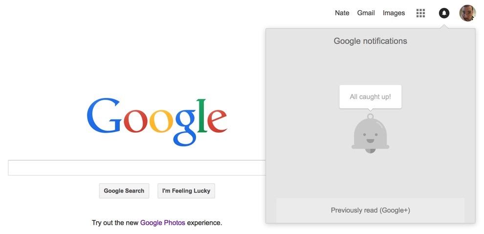 Google's notification menu no longer has Google+ branding
