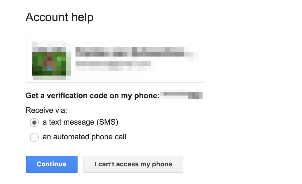 Gmail password reset process