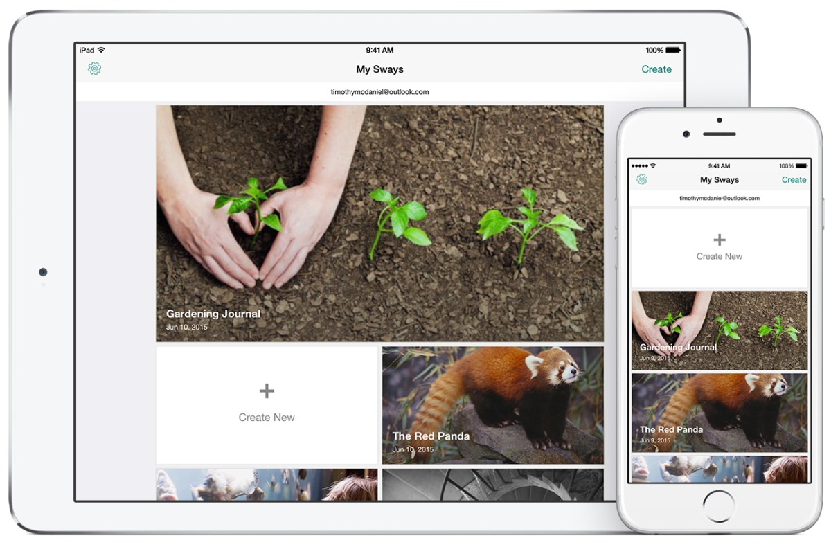 Microsoft launches an iPad Sway app, Windows 10 version