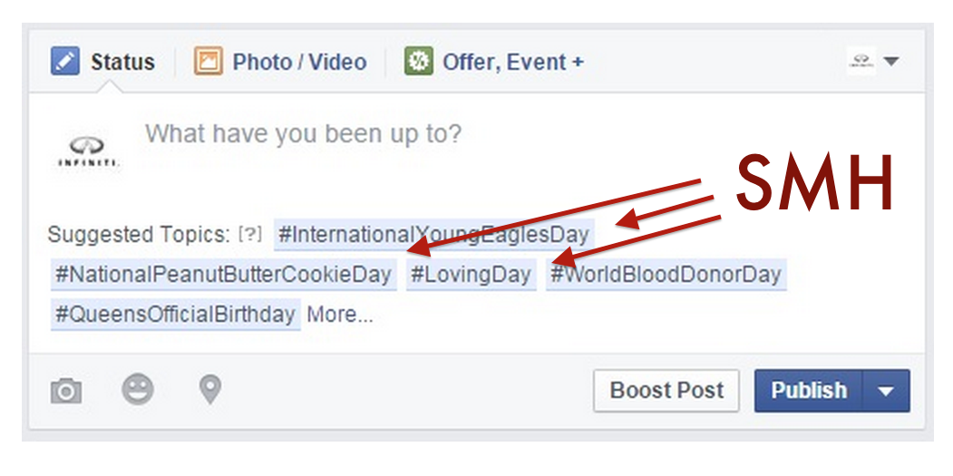 Facebook wants to suggest status update topics, and that's a terrible, horrible, very bad idea