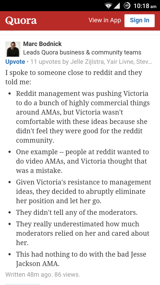 Quora's Marc Bodnik responds to a question about Victoria Taylor's dismissal (click for larger image)