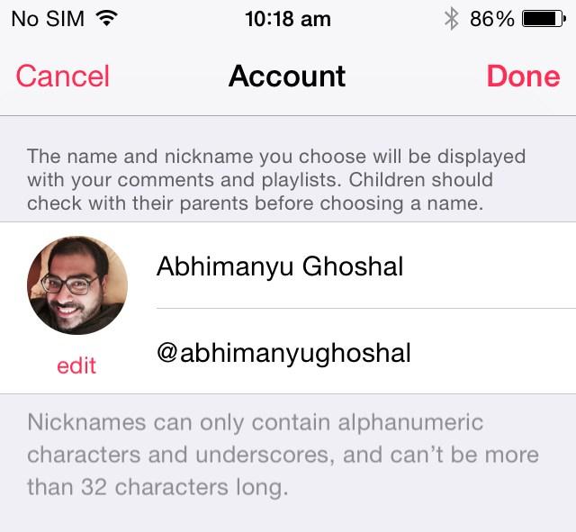 Apple Music nickname iOS