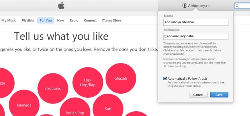 Apple Music nickname iTunes