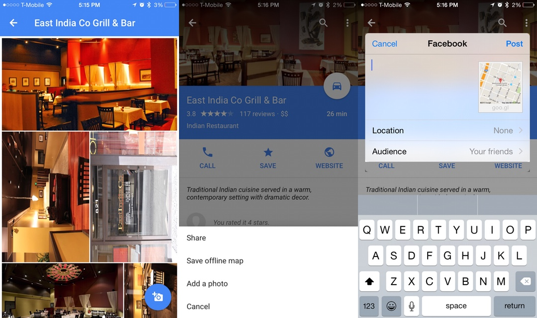 Google Maps iOS update now lets you share locations on Facebook and Messenger