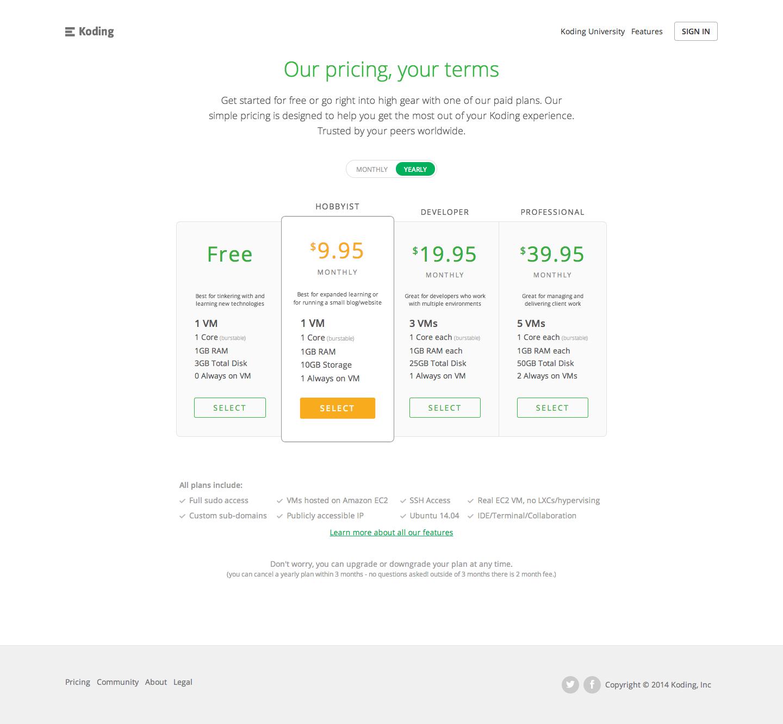 Koding-pricing-page