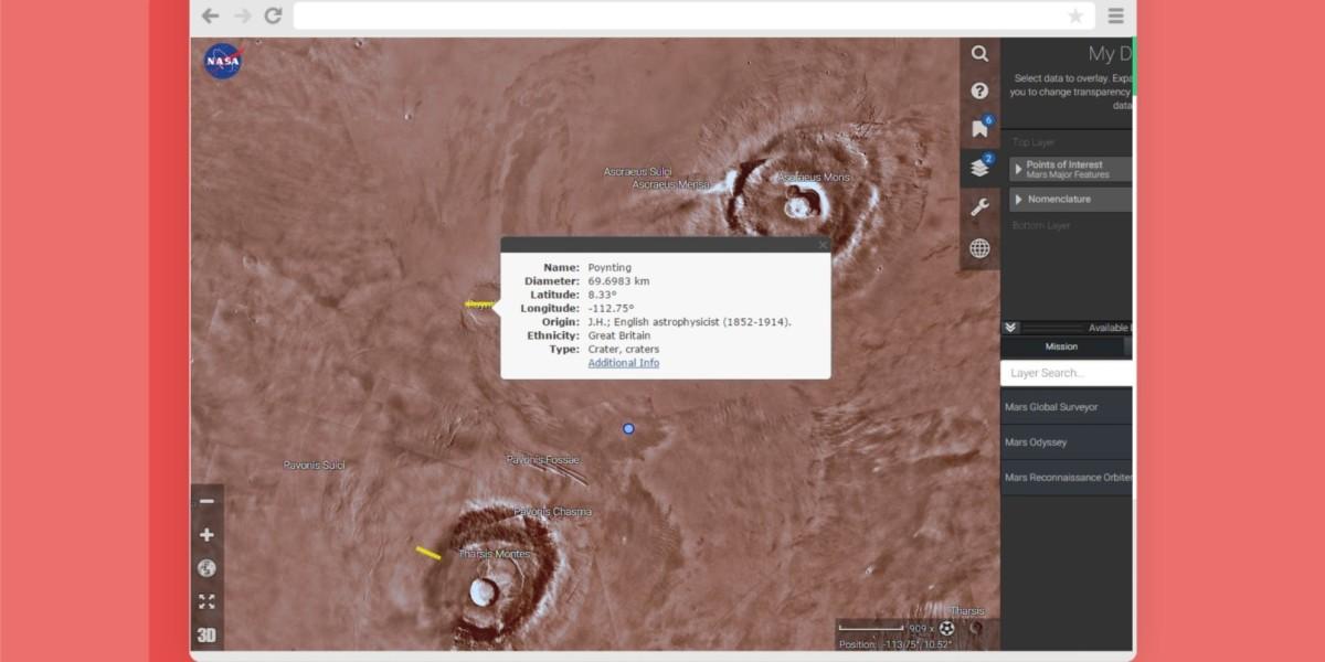 NASA Mars Trek hed