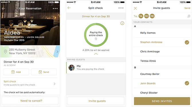 Restaurant-booking app Reserve now lets you automatically split the bill among friends