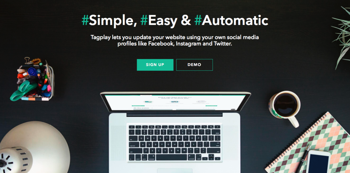 Tagplay lets you manage website content using social media and hashtags