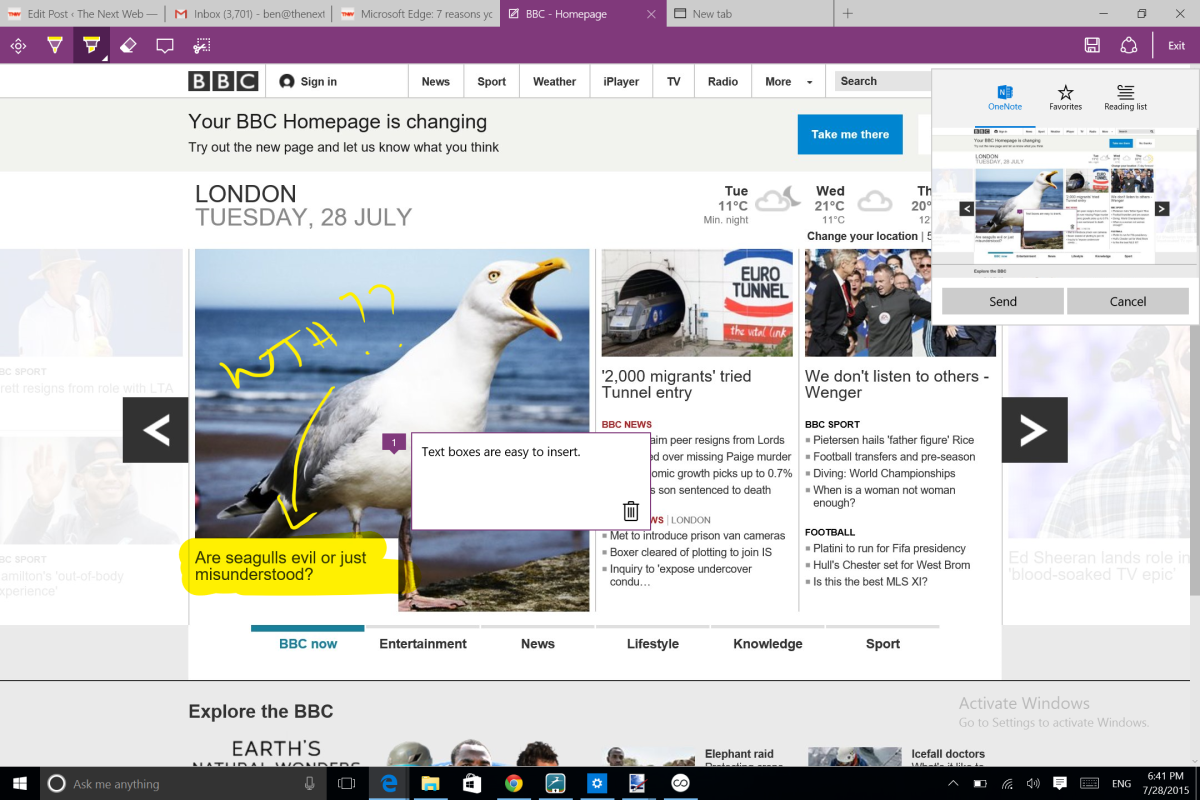 Microsoft Edge annotated Web page