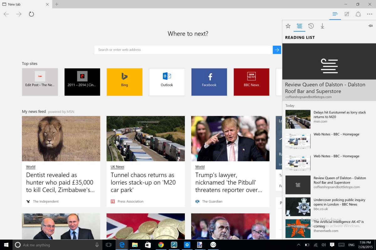 Microsoft Edge reading list