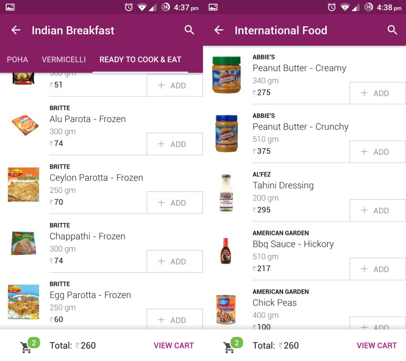 The app offers a wide range of products