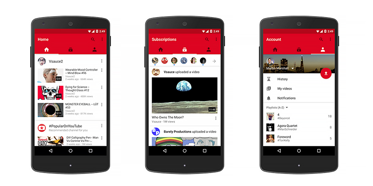 youtube mobile app gets a facelift with three new tabs. Black Bedroom Furniture Sets. Home Design Ideas