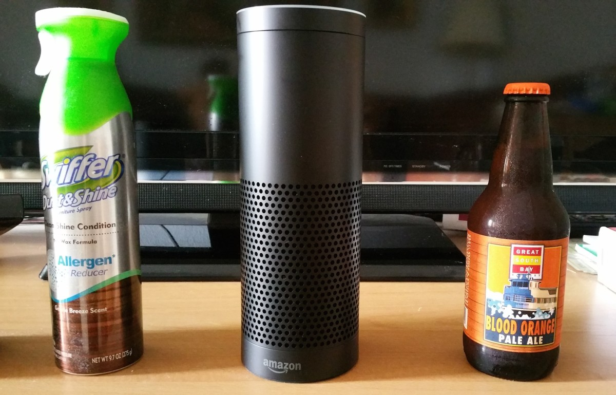 The Amazon Echo's size compared to a few other household items.