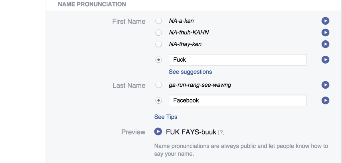 Facebook's name pronunciation tool is your ticket to trolling its 'real name' policy ...