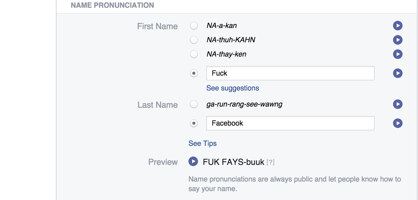 Can use my real name on facebook profile