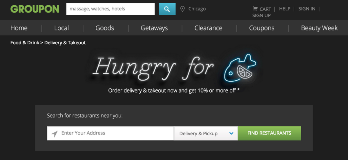 Groupon launched its own food delivery service to shield you from being coupon-shamed