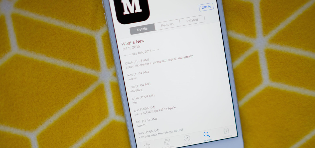 Medium's iOS app update notes are just the developers' Slack chat