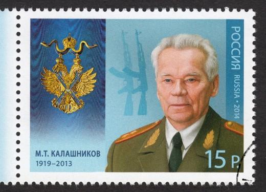 A Russian stamp from 2014 commemorating AK-47 designer Mikhail Kalashnikov