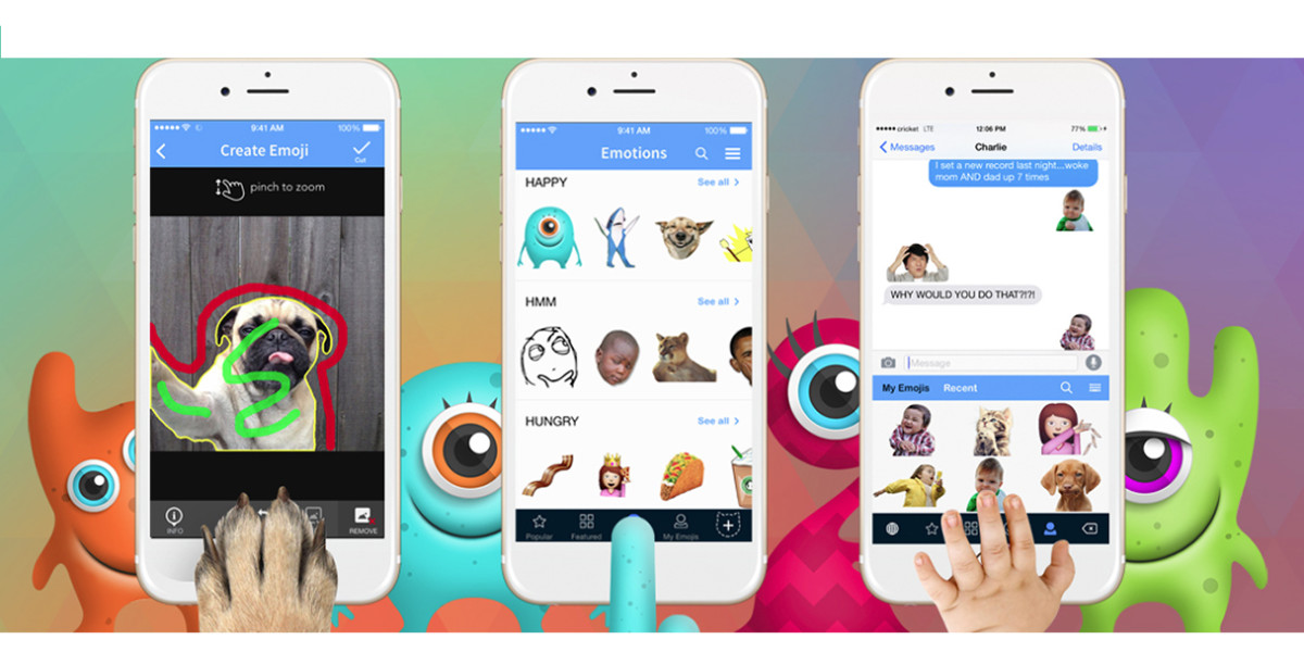 YourMoji keyboard for iOS lets you create emoji composites with your own photos